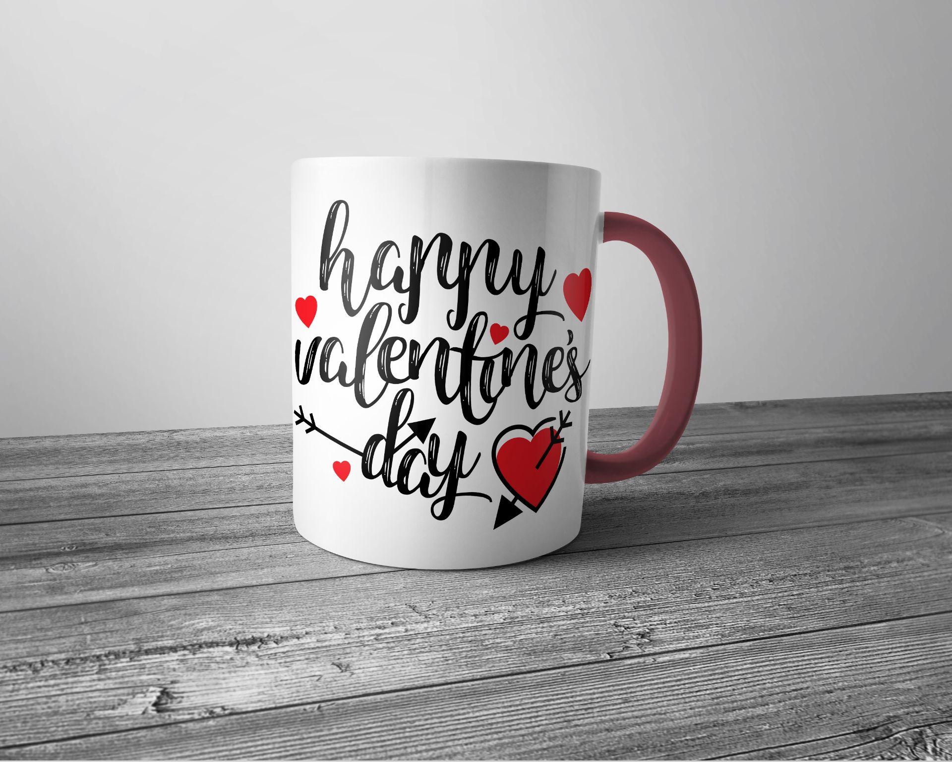 Kolorowy Kubek Porcelanowy Z Nadrukiem Happy Valentines Day Pink