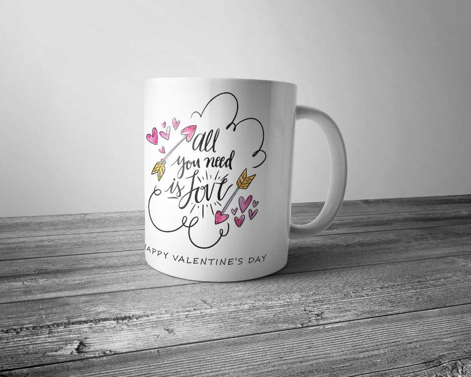 Kolorowy Kubek Porcelanowy Z Nadrukiem All You Need Its Love