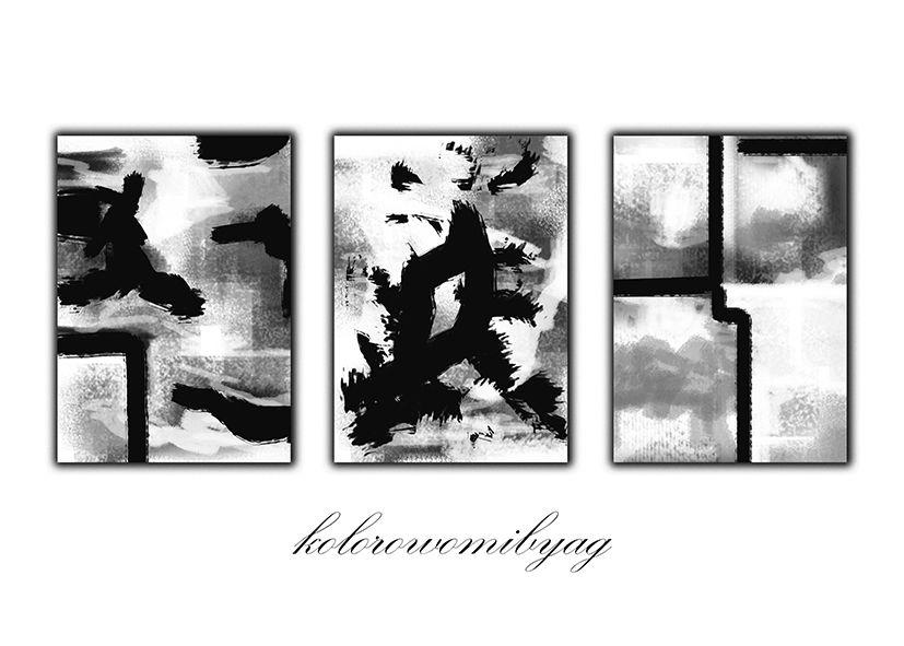 Tryptyk Czarno Biała Abstrakcja Plakat Plakaty Czarno Białe