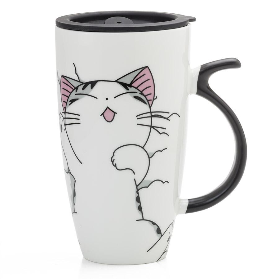 Kubki W Koty Z łyżeczkami Z Porcelany 2 Szt Pudełko E Jd