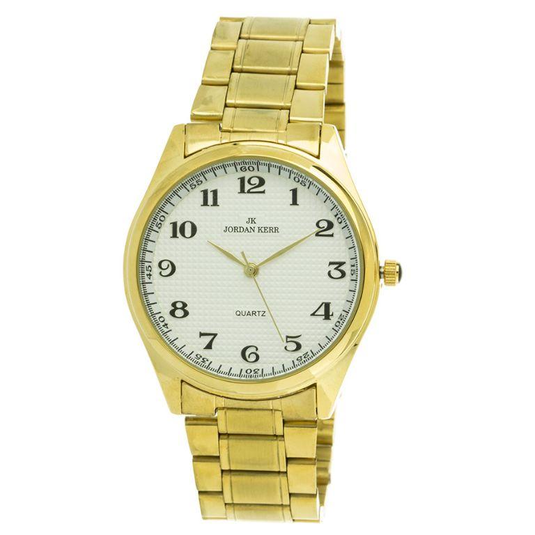 cf3f66962636f2 Zegarek męski Jordan Kerr złoty ze srebrną tarczą na bransolecie L1010